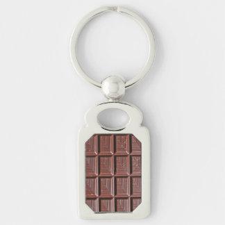 Chocolade Zilverkleurig Rechthoekige Sleutelhanger