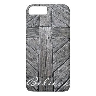 Christelijk dwars rustiek houten monogram iPhone 8/7 plus hoesje