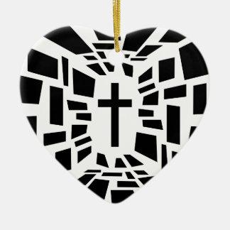 Christelijk Kruis Keramisch Hart Ornament