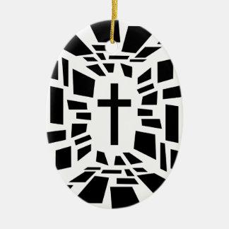 Christelijk Kruis Keramisch Ovaal Ornament