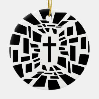 Christelijk Kruis Rond Keramisch Ornament