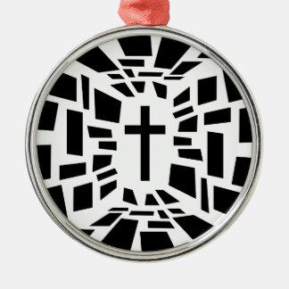 Christelijk Kruis Zilverkleurig Rond Ornament