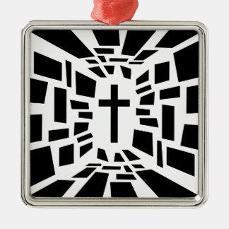 Christelijk Kruis Zilverkleurig Vierkant Ornament