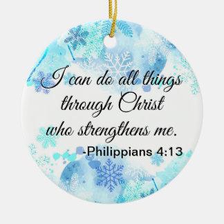 Christelijke Bijbel kan ik Al Blauw van het Citaat Rond Keramisch Ornament
