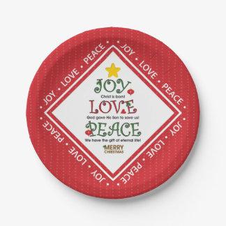 Christelijke Kerstmis van de Vrede van de Liefde Papieren Bordje
