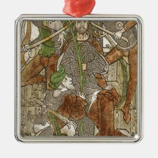 Christus bekroonde met Doornen Zilverkleurig Vierkant Ornament
