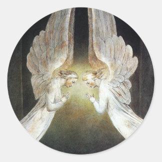 Christus bewaakte door Engelen door William Blake Ronde Sticker