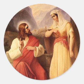 Christus en de Samaritaan door Christelijke Ronde Sticker