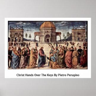 Christus overhandigt de Sleutels door Pietro Poster