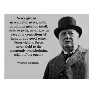 Churchill geeft nooit toe poster
