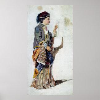 Cijfer van een meisje in Turks kostuum, 19de eeuw Poster