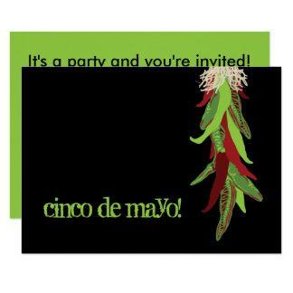 cinco DE Mayo Chili peper 8,9x12,7 Uitnodiging Kaart
