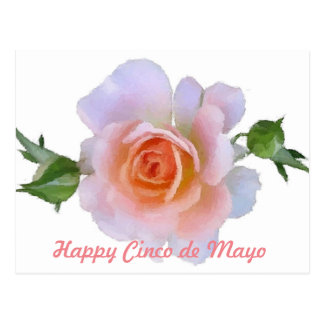 Cinco DE Mayo, Roze nam, bloemenpenseelart. toe Briefkaart
