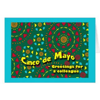 Cinco DE Mayo voor Collega, Kleurrijk Mozaïek Wenskaart