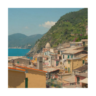 Cinque Terre in Italiaanse Riviera Hout Afdruk