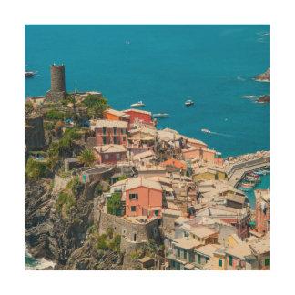 Cinque Terre in Italië Hout Afdruk