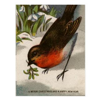 Circa 1871: Robin, met maretak in zijn bek Briefkaart