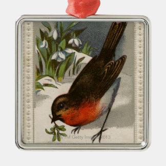 Circa 1871: Robin, met maretak in zijn bek Zilverkleurig Vierkant Ornament
