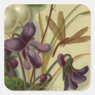 Circa 1881: Snowberries en viooltjes Vierkante Sticker