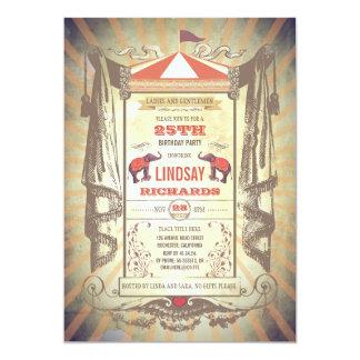 Circus of de Vintage Partij van de Verjaardag van 12,7x17,8 Uitnodiging Kaart