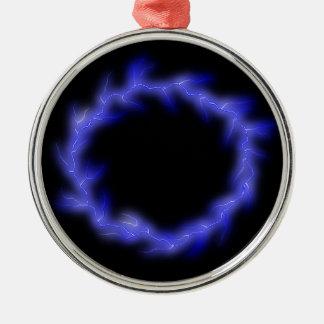 Cirkel Bliksem Zilverkleurig Rond Ornament