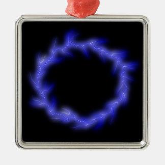 Cirkel Bliksem Zilverkleurig Vierkant Ornament