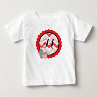 Cirkel van het Monogram van Valentijn van de Baby T Shirts