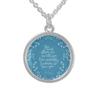 Citaat Jane Austen van de trots en het Bloemen van Sterling Zilver Ketting