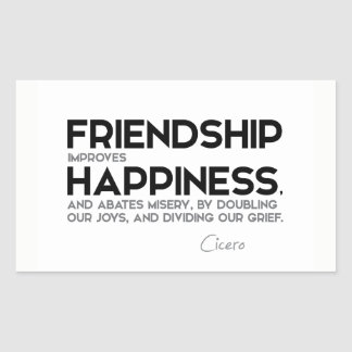 CITEERT: Cicero'n: De vriendschap verbetert geluk Rechthoekige Sticker