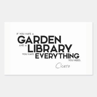 CITEERT: Cicero'n: Een tuin en een bibliotheek Rechthoekige Sticker