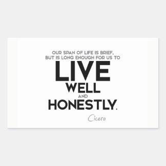 CITEERT: Cicero'n: Leef eerlijk goed en Rechthoekige Sticker