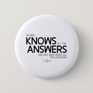 CITEERT: Confucius: Kent alle antwoorden Ronde Button 5,7 Cm