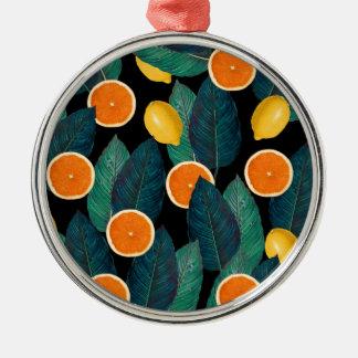 citroenen en sinaasappelszwarte zilverkleurig rond ornament