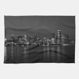 Cityscape Grayscale van de Nacht van Chicago Handdoek