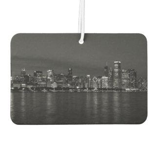 Cityscape Grayscale van de Nacht van Chicago Luchtverfrisser