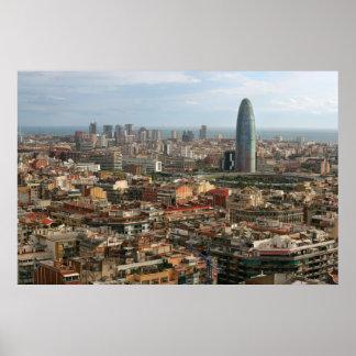cityscape van Barcelona Poster