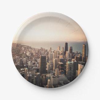 Cityscape van Chicago Papieren Bordjes