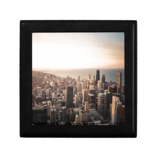 Cityscape van Chicago Vierkant Opbergdoosje Small