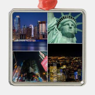 Cityscape van de de collagefoto van de Stad NYC Zilverkleurig Vierkant Ornament