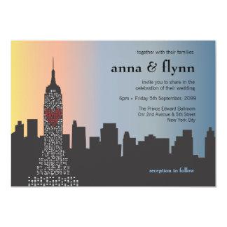 Cityscape van de Horizon van de Stad van New York 12,7x17,8 Uitnodiging Kaart