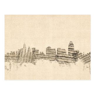 Cityscape van de Muziek van het Blad van de Briefkaart