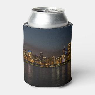 Cityscape van de Nacht van Chicago Blikjeskoeler