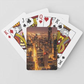 Cityscape van de nacht van Chicago Speelkaarten