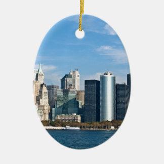 Cityscape van de V.S.: De Horizon van New York #1 Keramisch Ovaal Ornament