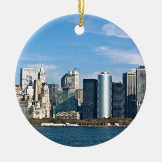 Cityscape van de V.S.: De Horizon van New York #1 Rond Keramisch Ornament
