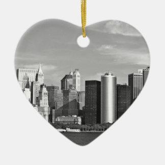 Cityscape van de V.S.: De Horizon van New York #2 Keramisch Hart Ornament