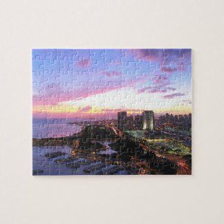 Cityscape van Honolulu de zonsondergang van Hawaï Puzzel