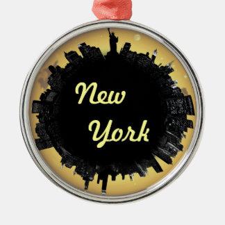 Cityscape van New York Zilverkleurig Rond Ornament