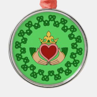 Claddagh en Groene Knotwork Zilverkleurig Rond Ornament