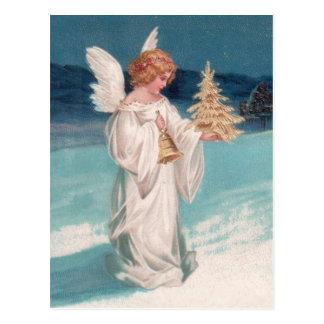 Clapsaddle: De Engel van Kerstmis met Klok Briefkaart
